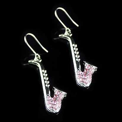 Saxophone Swarovski Pink Crystal Musical Instrument Earrings