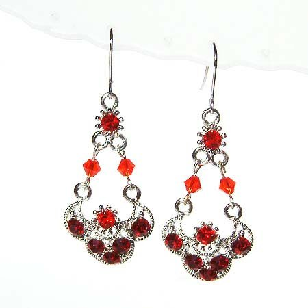 Glamour Long Hot Red Swarovski Crystal Christmas Earrings