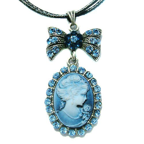 Victorian Cameo Swarovski Blue Crystal Leather Pendant Necklace