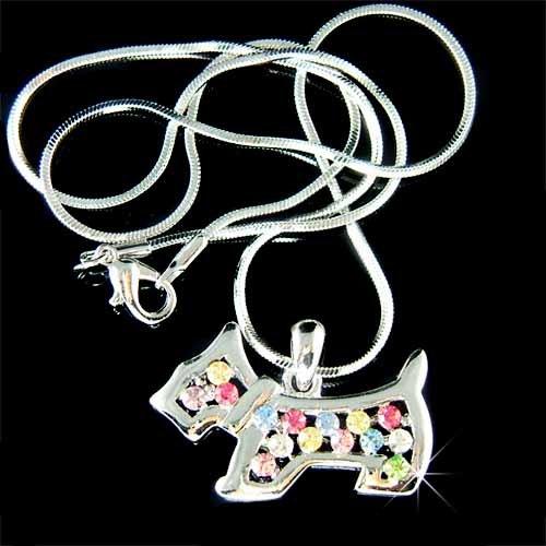 Scottish Westie Scottie Dog Swarovski Rainbow Crystal Necklace