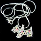 Scottish Westie Scottie Dog Swarovski Rainbow Crystal Necklace