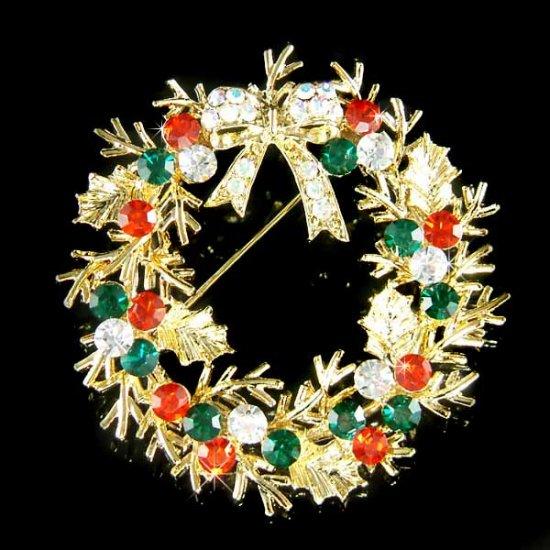 Gold Christmas Holly Flower Wreath Bow Swarovski Crystal Brooch