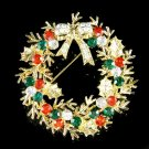 Gold Christmas Holly Flower Wreath Bow Swarovski Crystal Brooch
