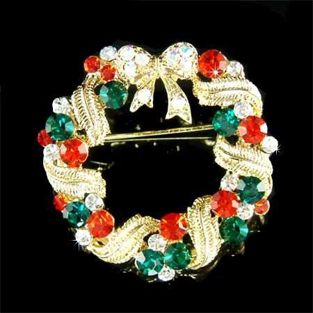 Gold Christmas Wreath Bow Swarovski Crystal Holiday Brooch
