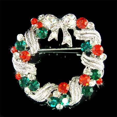 Merry Christmas Wreath Bow Swarovski Crystal Holiday Brooch