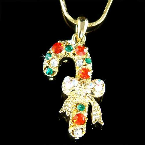 Swarovski Crystal Gold Christmas Candy Cane Bow Holiday Necklace