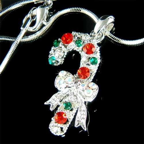Swarovski Crystal Merry Christmas Candy Cane Holiday Necklace