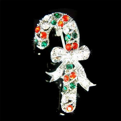 Swarovski Crystal Christmas Candy Cane Stick Bow Holiday Brooch