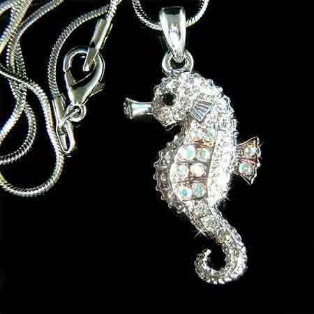 Beach Wedding Swarovski Crystal Seahorse Pendant Necklace