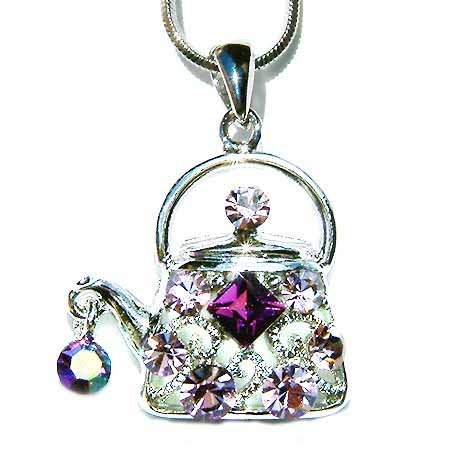 Purple Teapot Swarovski Crystal Tea Party Pendant Necklace
