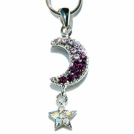 Crescent Purple Moon Star Swarovski Crystal Pendant Necklace