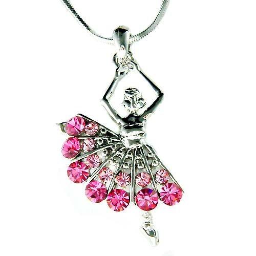 Ballerina /Ballet Dancer Pink Swarovski Crystal Pendant Necklace