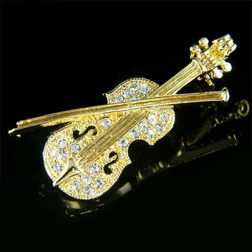 Gold Violin Swarovski Crystal Musical Instrument Brooch