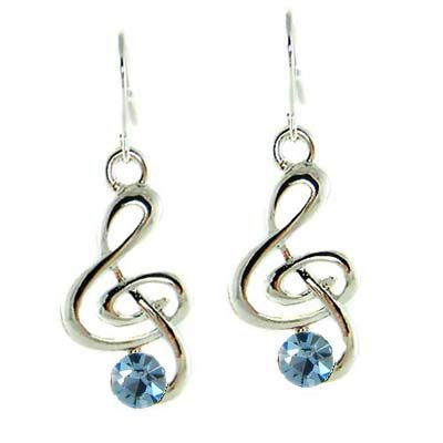 Treble G Clef Swarovski Blue Crystal Music Note Pendant Earrings