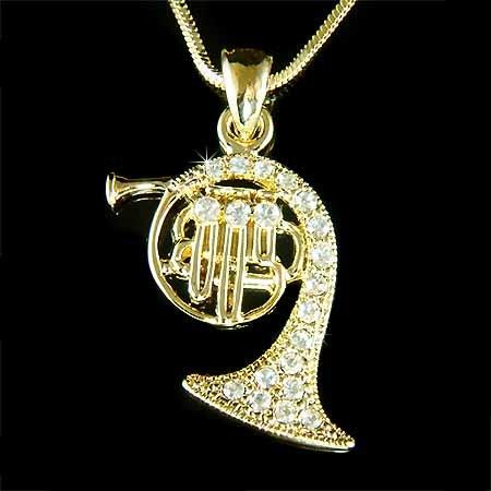 French Horn Swarovski Crystal Musical Instrument Gold Necklace