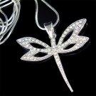 Dragonfly Swarovski Crystal Bridal Wedding Pendant Necklace