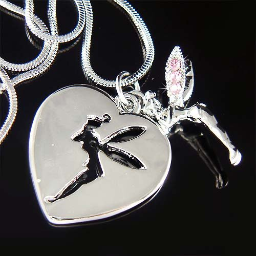 Tinkerbell Heart Dog Tag Pendant Swarovski Crystal Necklace