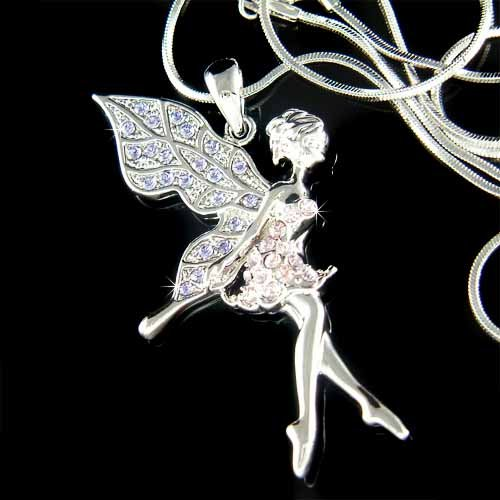 Purple Tinkerbell Fairy Pixie Swarovski Crystal Pendant Necklace