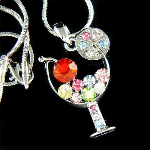 Margarita Wine Glass Cherry Swarovski Rainbow Crystal Necklace