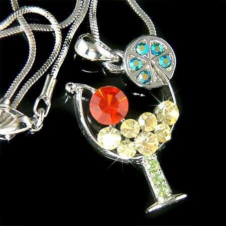 Margarita Wine Glass Red Cherry Swarovski Crystal Necklace