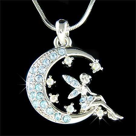 Aqua Tinkerbell Fairy Angel Moon Star Swarovski Crystal Necklace
