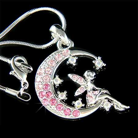 Pink Tinkerbell Fairy Angel Moon Star Swarovski Crystal Necklace