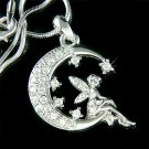 Clear Tinkerbell Fairy Moon Stars Swarovski Crystal Necklace