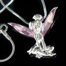 Tinkerbell Fairy Pixie Swarovski Purple Crystal Pendant Necklace