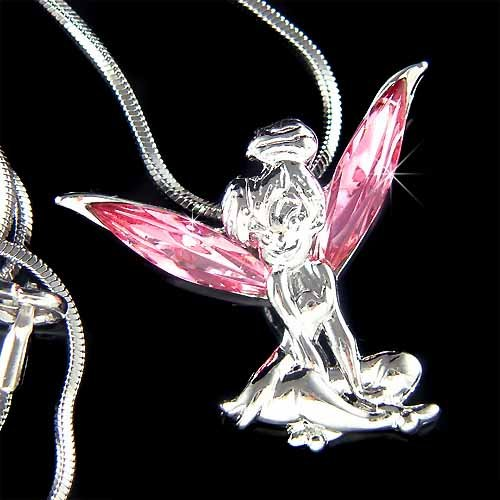 Tinkerbell Fairy Pixie Swarovski Sexy Pink Crystal Necklace