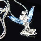 Tinkerbell Fairy Pixie Swarovski Blue Crystal Pendant Necklace