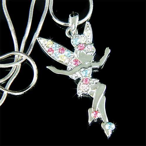 Tinkerbell Fairy Swarovski Rainbow Crystal Pendant Necklace