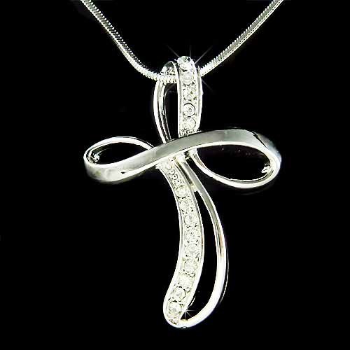 Cross Jesus Christ God Religious Holy Swarovski Crystal Necklace