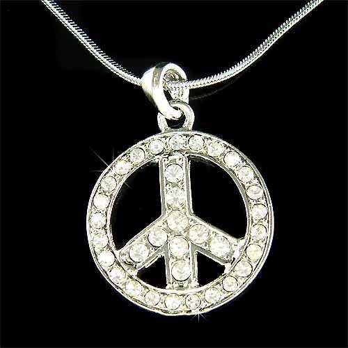 Peace Sign Symbol Big Awareness Boho Swarovski Crystal Necklace
