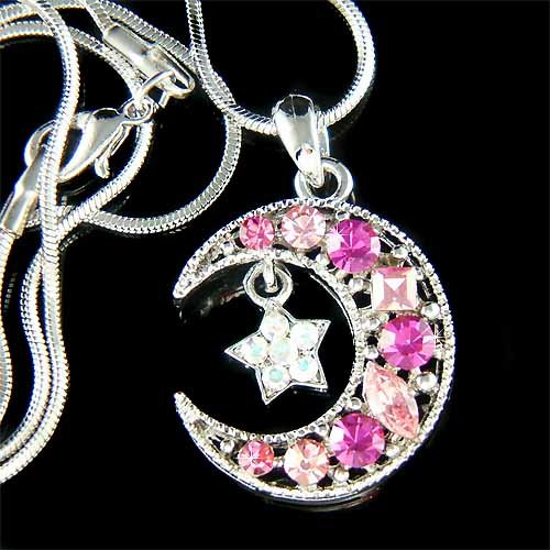 Pink Swarovski Crystal Crescent Moon Star Pendant Necklace