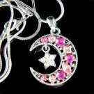 Pink Swarovski Crystal Crescent Moon Star Pendant Necklace