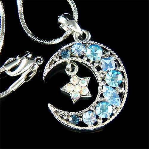 Swarovski Crystal Crescent Blue Moon Star Pendant Necklace