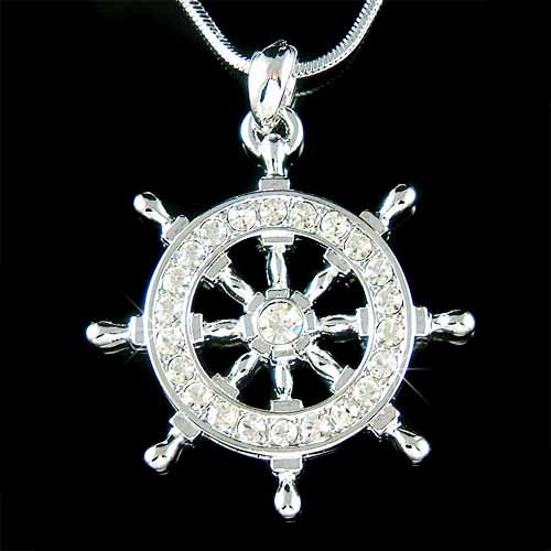 Ship Wheel Celebrity Swarovski Pave Crystal Nautical Necklace