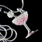 Pink Happy Hour Swarovski Crystal Martini Glass Cherry Necklace