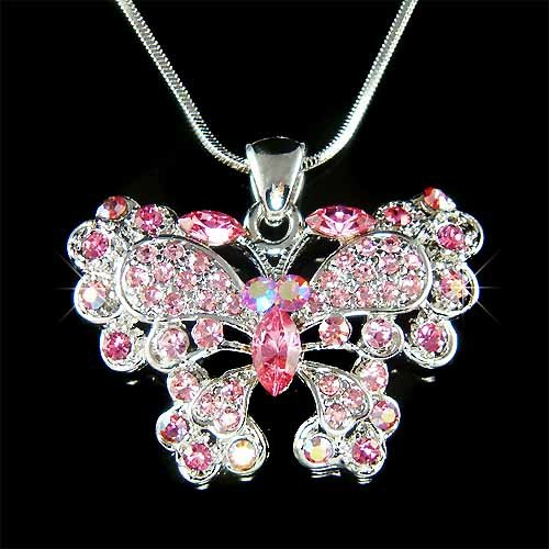 Pink Bridesmaid Swarovski Crystal Butterfly Pendant Necklace