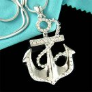 Swarovski Crystal Beach Wedding Yacht Anchor Nautical Necklace
