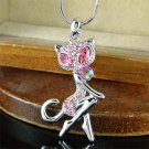 Animal Lover Swarovski Pink Crystal Pussy Cat Pendant Necklace