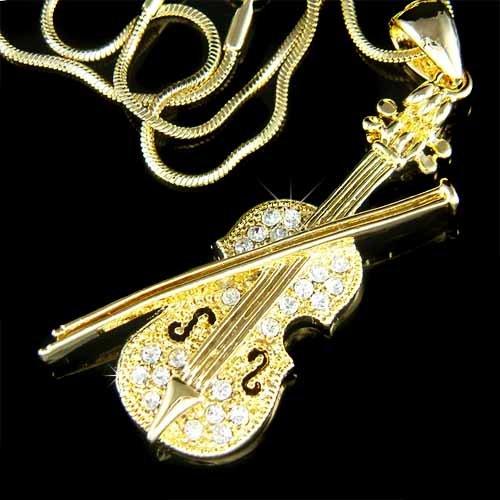 Gold Swarovski Crystal Musical Instrument Violin & Bow Necklace