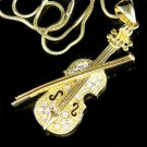Gold Swarovski Crystal Musical Instrument Violin & Bow Necklace