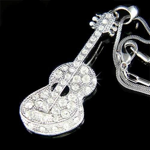 Swarovski Crystal Accoustic Guitar Necklace for Folk Music Lover