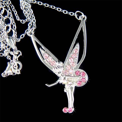 Pink Pixie Fairy Angel Swarovski Crystal Tinkerbell Necklace