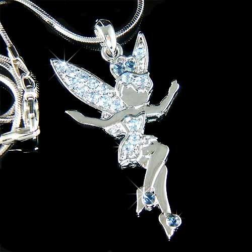 Blue Tinkerbell Fairy Angel Swarovski Crystal Pixie Necklace