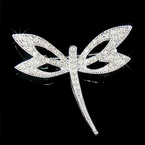Clear Bridal Wedding Swarovski Crystal Dragonfly Brooch