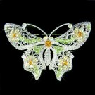 X'mas Green Elegant Filigree Swarovski Crystal Butterfly Brooch