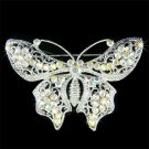 Bridal Wedding Filigree Swarovski Clear Crystal Butterfly Brooch