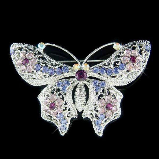 Lilac Bridal Wedding Filigree Swarovski Crystal Butterfly Brooch